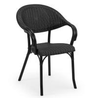 Rattan Görünümlü Siyah Plastik Enjeksiyon Sandalye