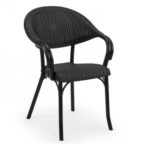 Rattan Görünümlü Siyah Plastik Enjeksiyon Sandalye - tps9912