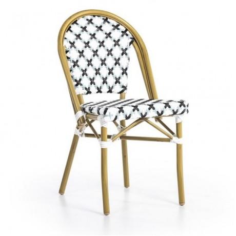 Beyaz Siyah Renkli Kablo Çapraz Desen Örgülü Rattan Sandalye - rtb18