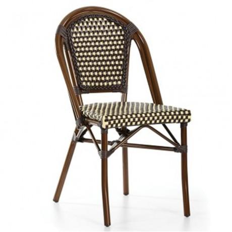 Kahverengi Krem Renkli Kablo Örgülü Rattan sandalye - rtb21