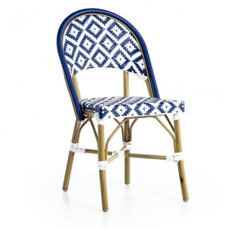 Mavi Beyaz Renkli Kablo Örgülü Rattan Sandalye - rtb22
