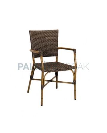 Bambu Kollu Kahve Rattanlı Cafe Sandalyesi