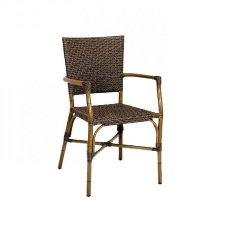 Bambu Kollu Kahve Rattanlı Cafe Sandalyesi - rtm085