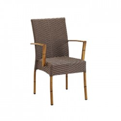 Bamboo Wired Rattan Restaurant Arm Chair