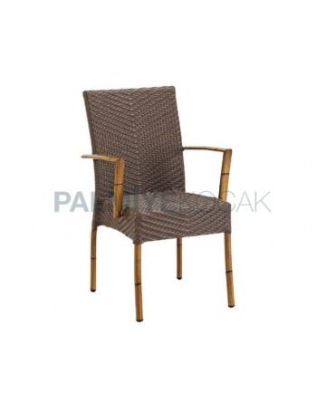 Bambu Kollu Rattan Örmeli Restoran Sandalyesi