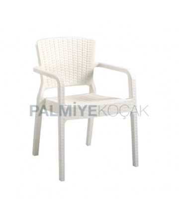 White Rattan Injection Garden Arm Chair
