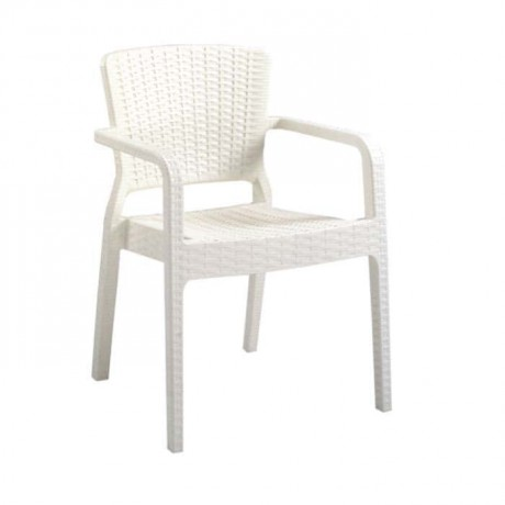 White Rattan Injection Garden Arm Chair - tps9892