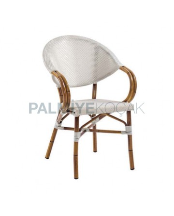 White Mesh Bamboo Aluminum Arm Chair