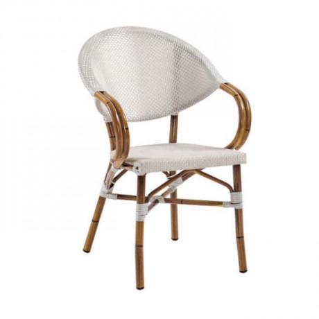 Beyaz Mesh Bambu Kollu Alüminyum Sandalye - rtb513