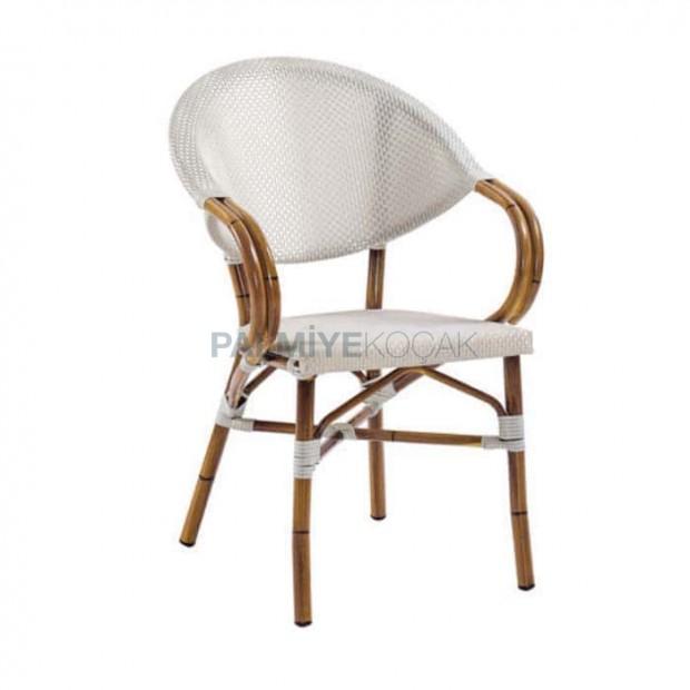 Beyaz Mesh Bambu Kollu Alüminyum Sandalye