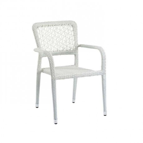 White Rattan Cafe Arm Chair - rtm094