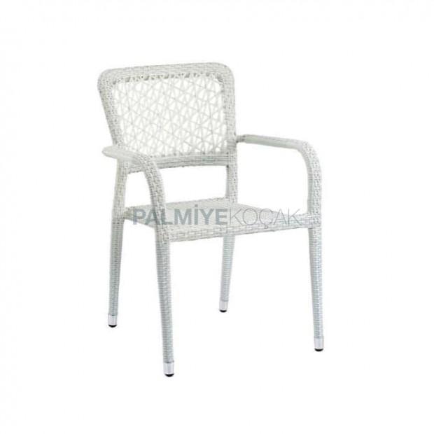 White Rattan Cafe Arm Chair