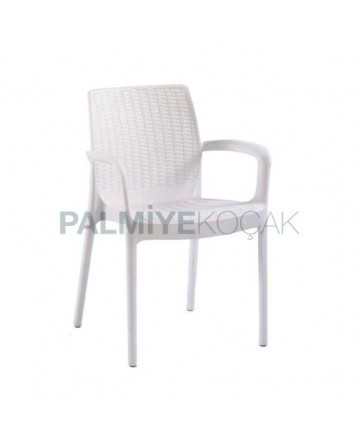 White Rattan Injection Arm Chair