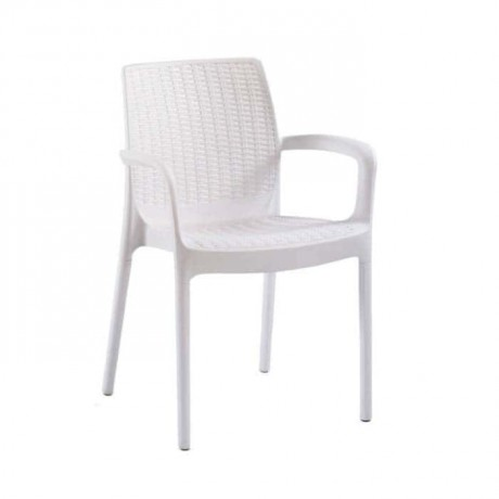 White Rattan Injection Arm Chair - tbs2570