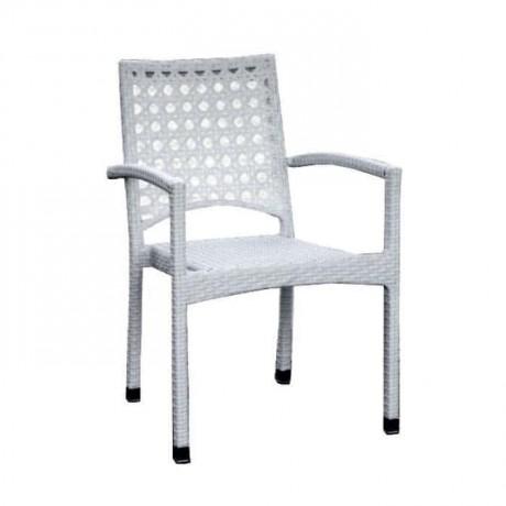 White Rattan Garden Arm Chair - rtb505