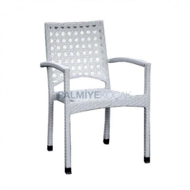 White Rattan Garden Arm Chair