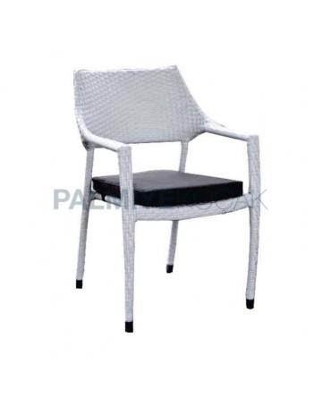White Rattan Arm Chair