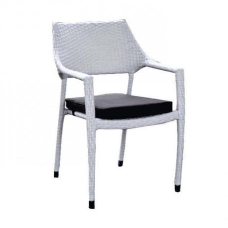 White Rattan Arm Chair - rtb504