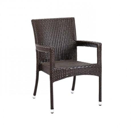 Kahve Rattan Kollu Otel Kış Bahçesi Sandalyesi - rtm095