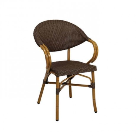 Brown Rattan Wired Cafe Chair - rtm088
