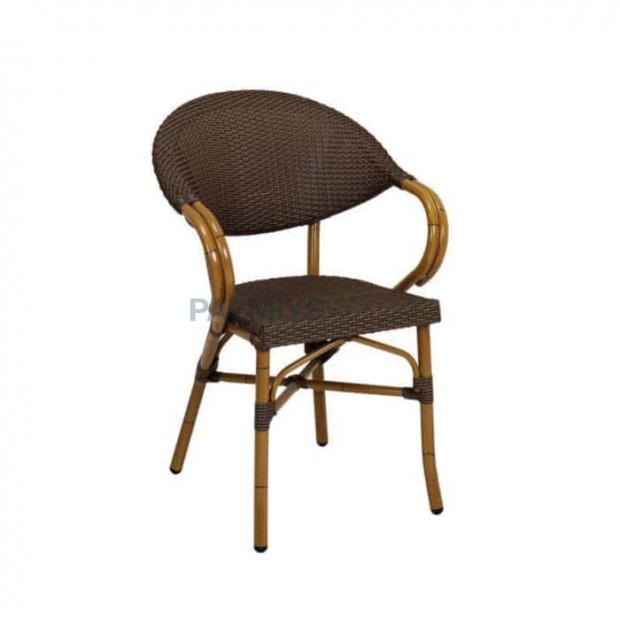 Kahve Rattan Örmeli Cafe Sandalyesi