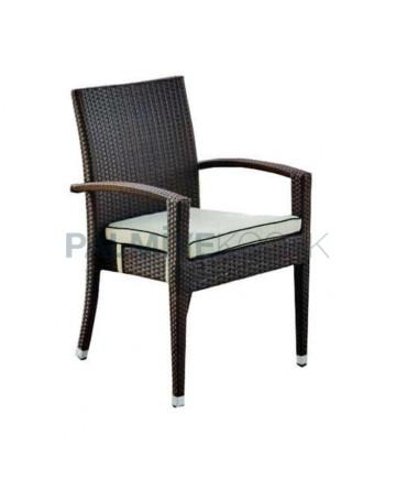 Brown Colored Cushion Rattan Chair