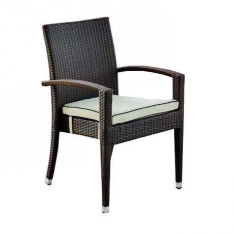 Brown Colored Cushion Rattan Chair - rtb506