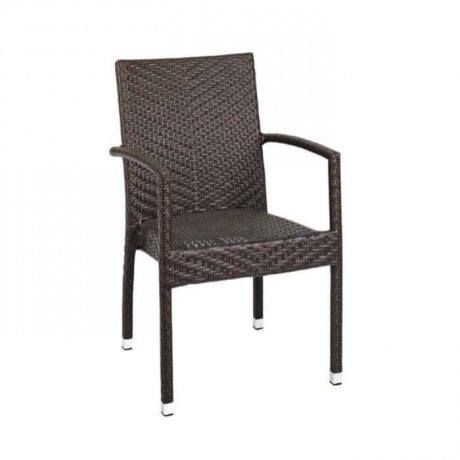 Brown Colored Rattan Cafe Arm Chair - rtm082