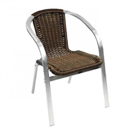 Kahverengi Örgülü Borulu Cafe Sandalyesi - alg02