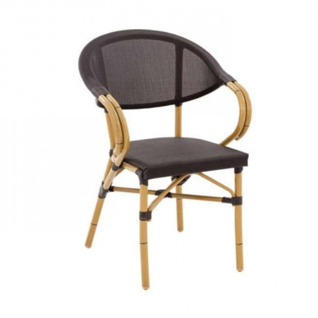Mesh Bamboo Cafe Arm Chair - rtb511