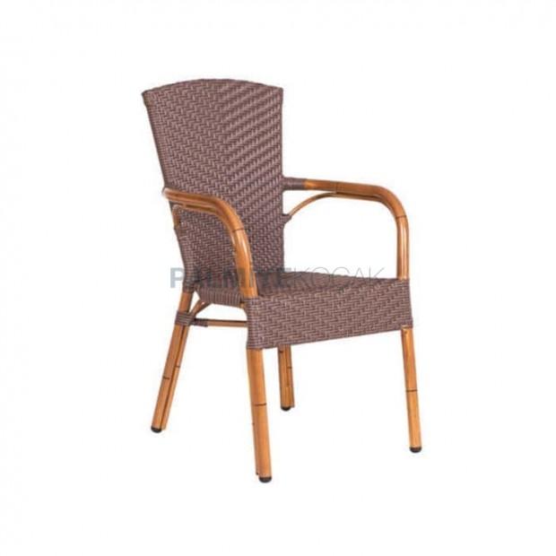 Rattan Bamboo Arm Aluminum Chair