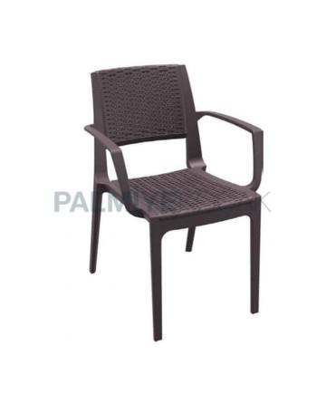 Rattan Enjeksiyon Kollu Dış Mekan Bahçe Sandalyesi
