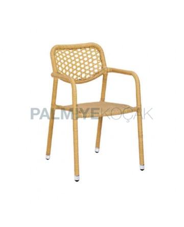 Yellow Rattan Arm Chair