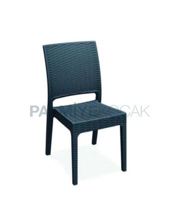 Siyah Enjeksiyon Restoran Bahçesi Sandalyesi