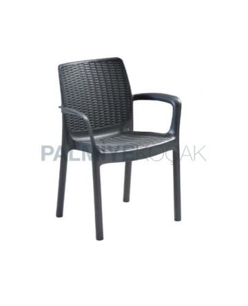 Siyah Plastik Kollu Bahçe Sandalyesi