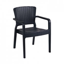 Black Colored Rattan Injection Arm Chair