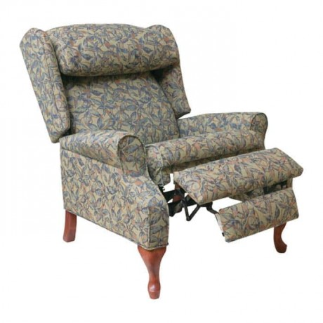 Patterned Fabric Lukens Wooden Leg Companion Chair - hkv6861