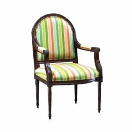 Renkli Çizgili Kumaşlı Koyu Ceviz Sandalye