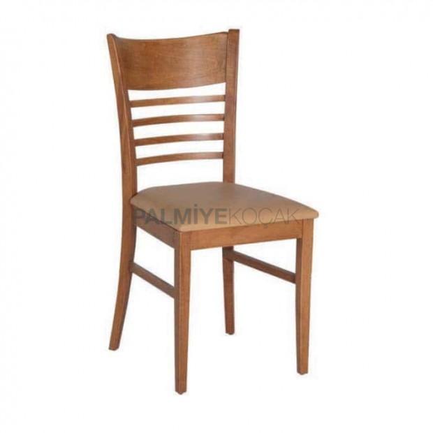 Açık Ahşap Boya Renkli Yatay Çıtalı Yemek Sandalyesi