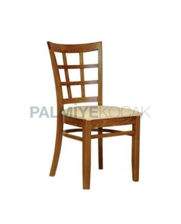 Açık Eskitme Boyalı Krem Deri Kaplı Rustik Sandalye