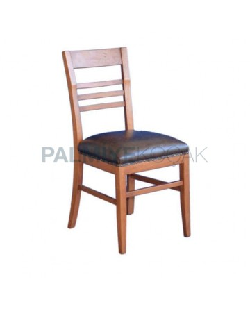 Antique Black Bright Leather Upholstered Rustic Restoran Chair