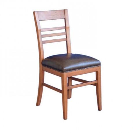 Açık Eskitme Siyah Parlak Deri Döşemeli Rustik Restoran Sandalyesi - rsa36
