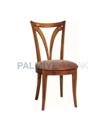 Açık Eskitme Sonil Kumaş Döşemeli Ahşap Rustik Sandalye
