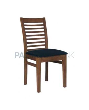 Açık Eskitme Yatay Çıtalı Siyah Kadife Döşemeli Sandalye