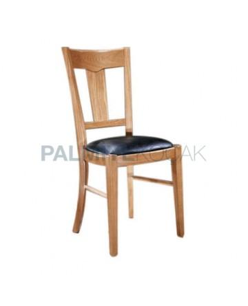 Açık Renk Boyalı Siyah Deri Kaplı Rustik Sandalye