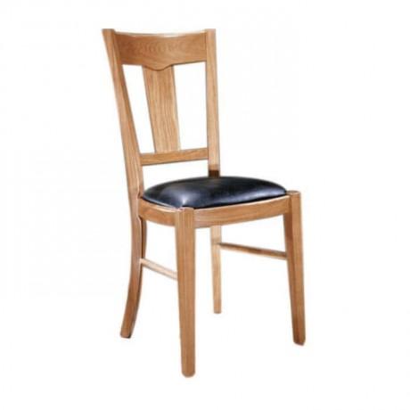 Açık Renk Boyalı Siyah Deri Kaplı Rustik Sandalye - rsa61