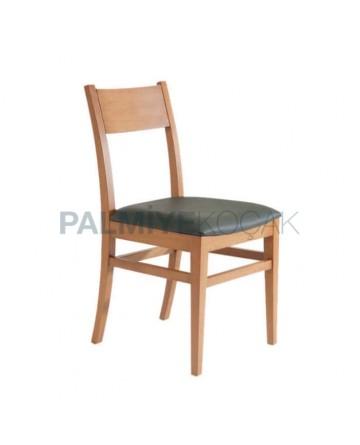 Armut Boyalı Siyah Deri Döşemeli Rustik Sandalye