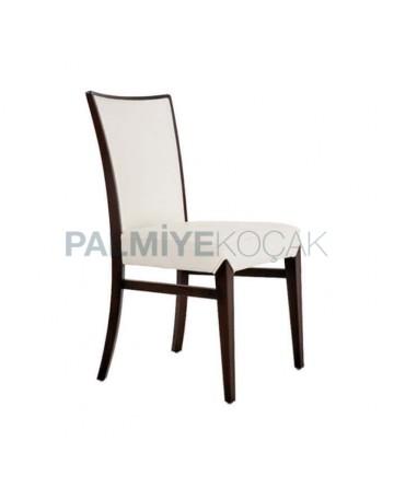 Beyaz Deri Döşemeli Giydirme Restoran Sandalyesi