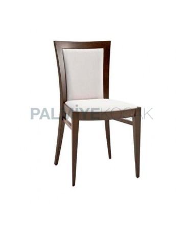 Beyaz Flok Kumaş Döşemeli Eskitme Rustik Sandalye