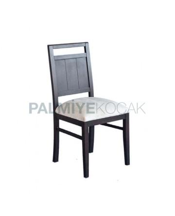 Beyaz Kumaşlı Siyah Boyalı Ağaç Sandalye